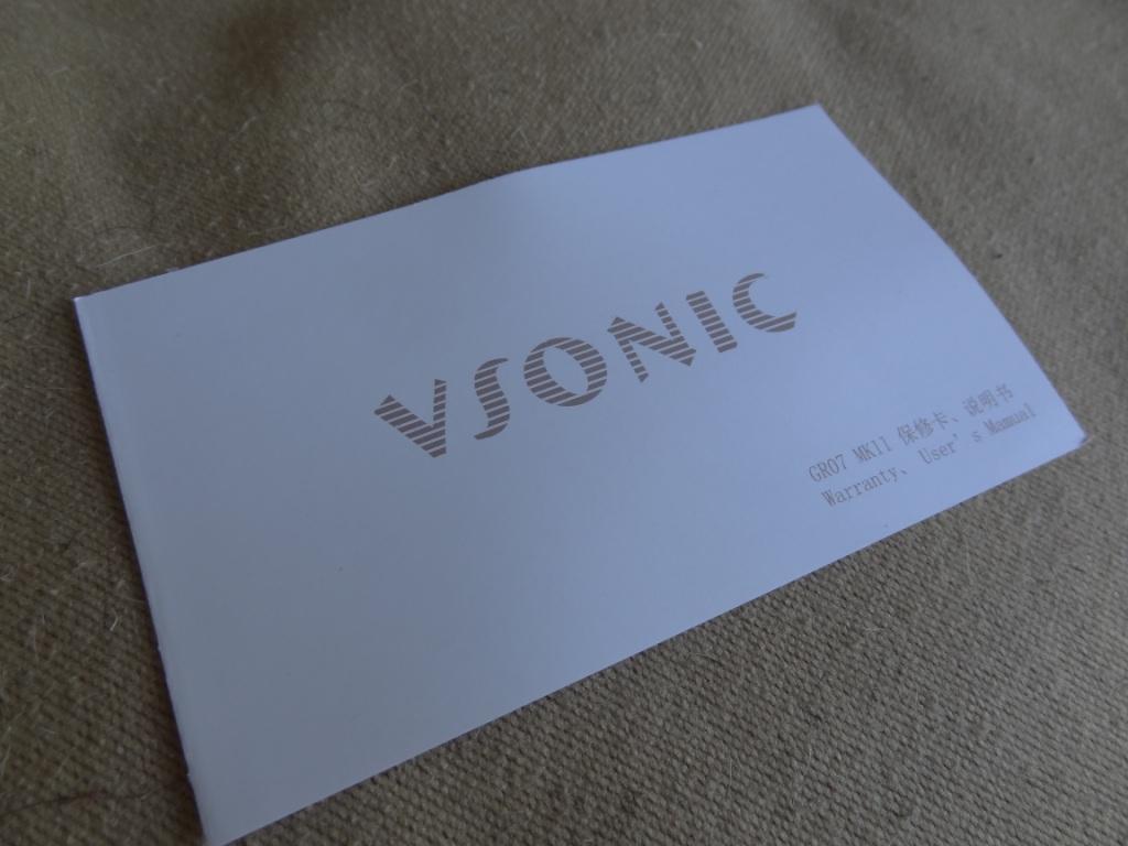 VSonic GR07 MK2 - Warranty Card