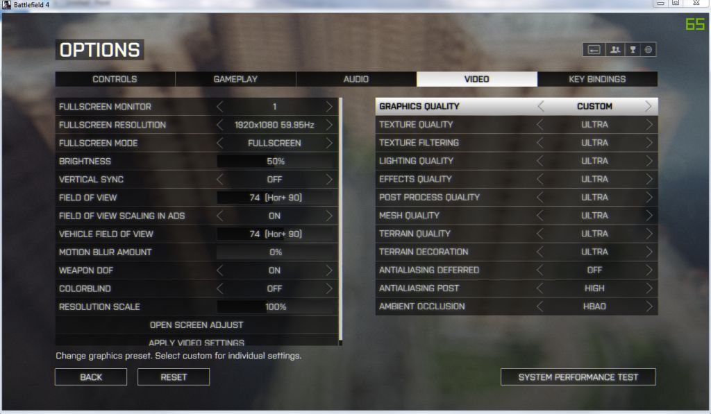 MSI 24GE 2QE - BF4 Settings