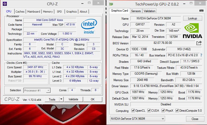 MSI 24GE 2QE - GPUZ & CPUZ