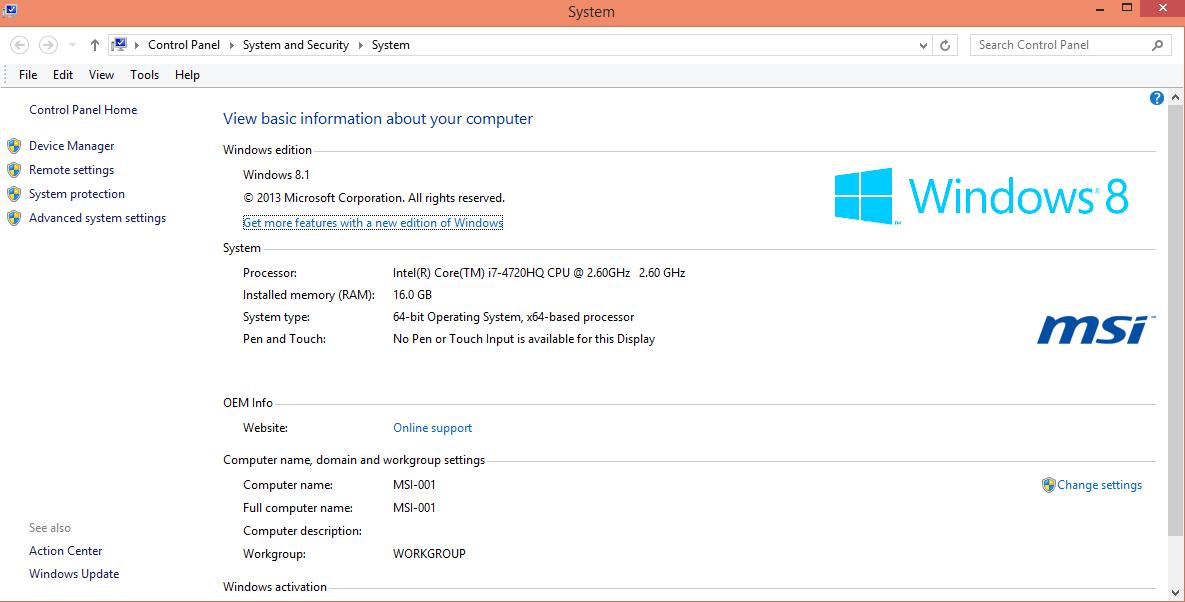 MSI 24GE 2QE - PC Settings